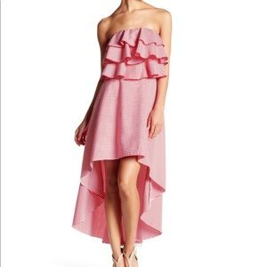 Tea & cup gingham ruffle high low strapless dress